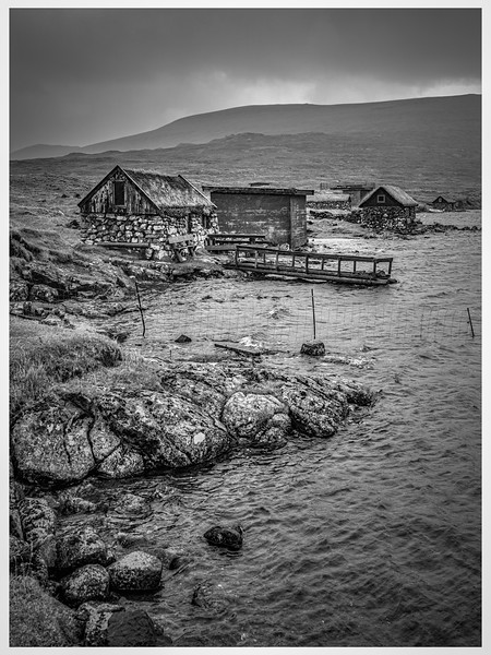 Faroe Shelters 2      Black and White  Photography by Wayne Heim