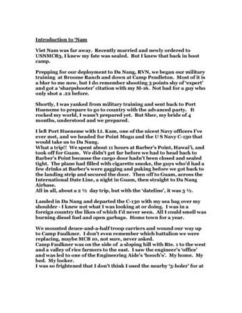 Introduction To 'Nam - Reavis J Franklin - MCB-3 - '68