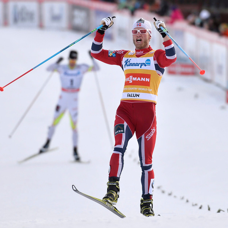 . Norway\'s Martin Johnsrud Sundby reacts after winning the Men\'s 15 km pursuit race at the FIS Cross Country World Cup in Falun, Sweden, 16 March 2014.  EPA/ANDERS WIKLUND