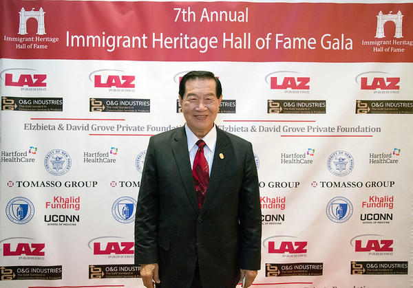 09/26/19 Wesley Bunnell | StaffrrThe Immigrant Heritage Hall of Fame Gala and Induction Ceremony took place on Thursday evening at The Aqua Turf in Southington including two inductees with New Britain ties. Dr. Zulma Toro the President of CCSU and former mayor of New Britain Lucian Pawlak. Inductee Dr. Henry Lee.