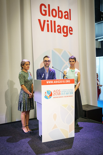 22nd International AIDS Conference (AIDS 2018) Amsterdam, Netherlands.   Copyright: Matthijs Immink/IAS  Global Village Opening  Photo shows: Elizabeth Taylors Grandchildren