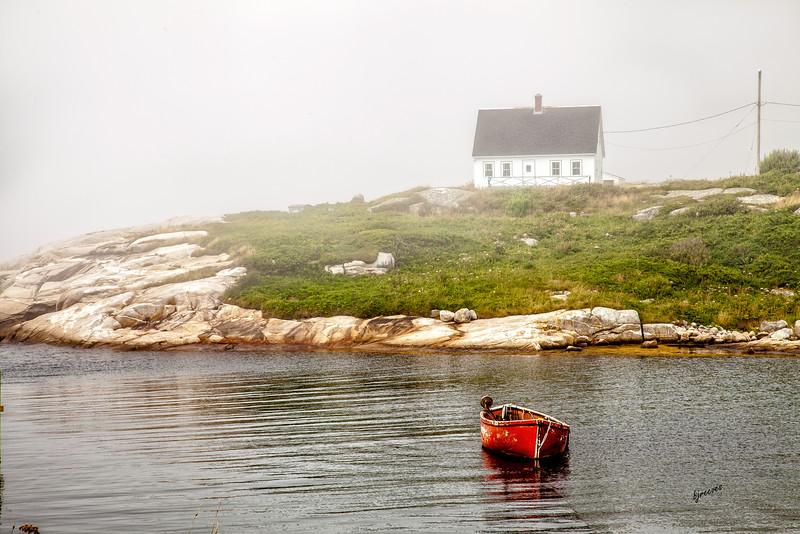 Foggy Peggy's Cove in Nova Scotia, Canada