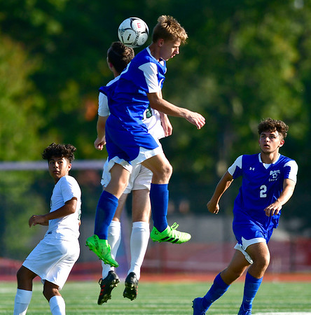 10/1/2019 Mike Orazzi   StaffrBristol Eastern's Jake Woznicki (10) during boys soccer with Maloney at BEHS Tuesday.