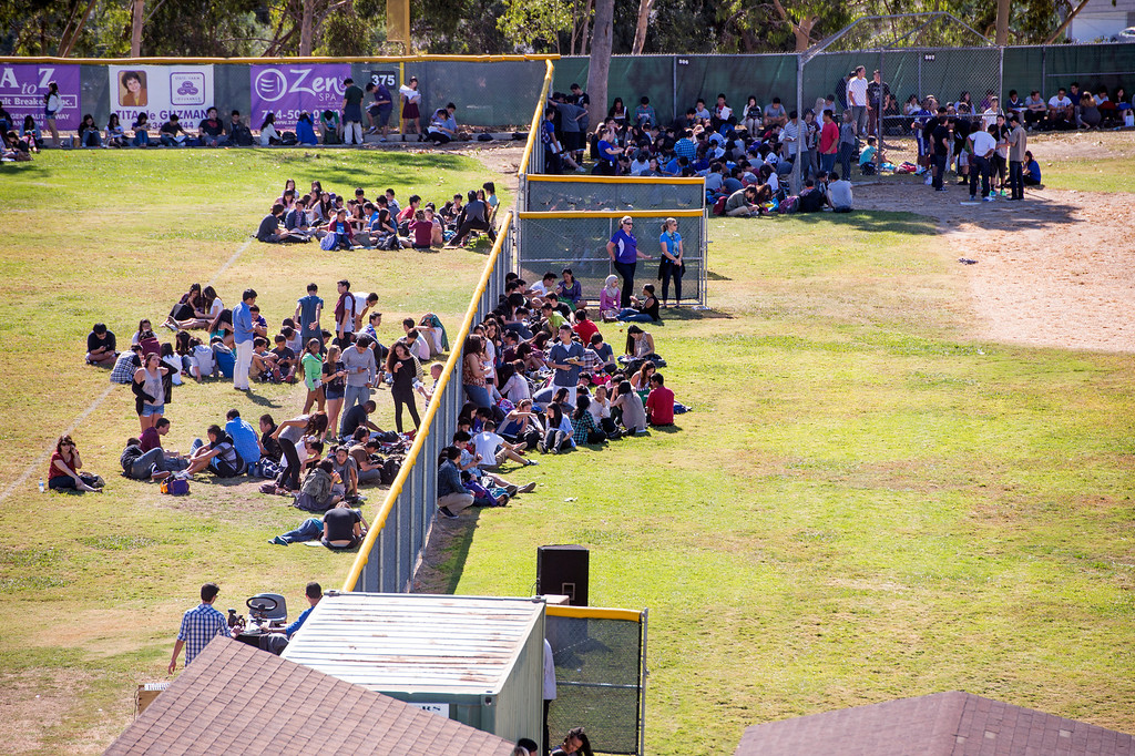 . Diamond Bar High students evacuate out of classrooms during the Great ShakeOut earthquake drill at the Diamond Bar campus October 17, 2013.  (Staff photo by Leo Jarzomb/SGV Tribune)