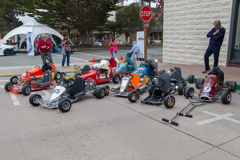 Preparing the Historic go-karts and midgets for display.