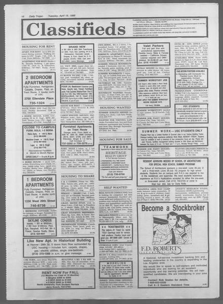 Daily Trojan, Vol. 106, No. 63, April 19, 1988