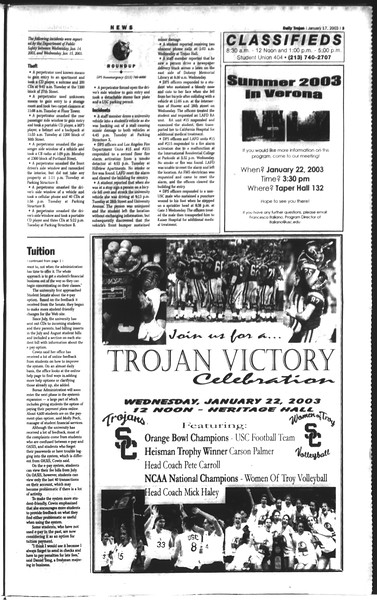 Daily Trojan, Vol. 148, No. 4, January 17, 2003