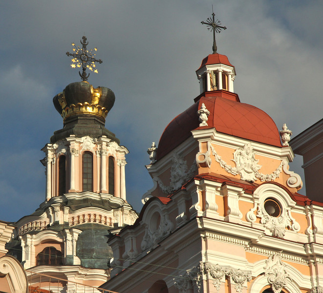 The intricate spires of St. Casimir Church -Vilnius, Lithuania