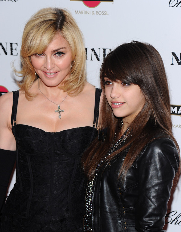 """. Singer Madonna and daughter Lourdes Leon attend the premiere of \""""Nine\"""" at the Ziegfeld Theatre in New York, on Tuesday, Dec. 15, 2009. (AP Photo/Peter Kramer)"""