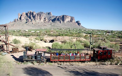 Goldfield Ghost Town, Mammoth Saloon, railroad, Superstition Mountain