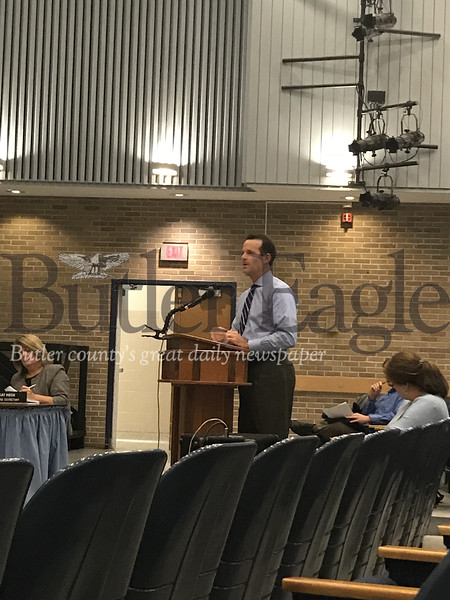 CannonDesign's lead architect on the Evans City project, Mike Corb, presented a geotechnical report of the suggested construction sites before board members voted 8-1 in favor of moving the project to the district's Ehrman Road site.