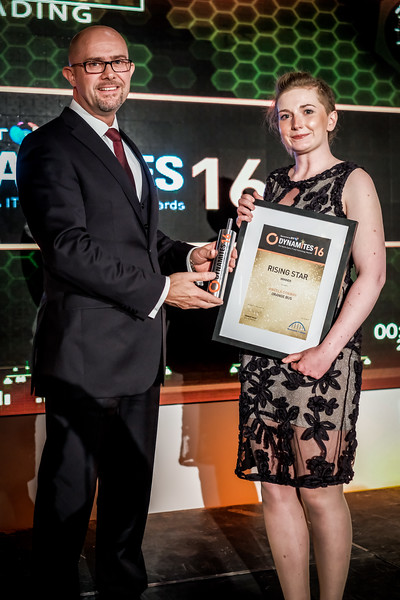 Angela Conway of Orange Bus receives the Rising Star Award from Tony Lewin