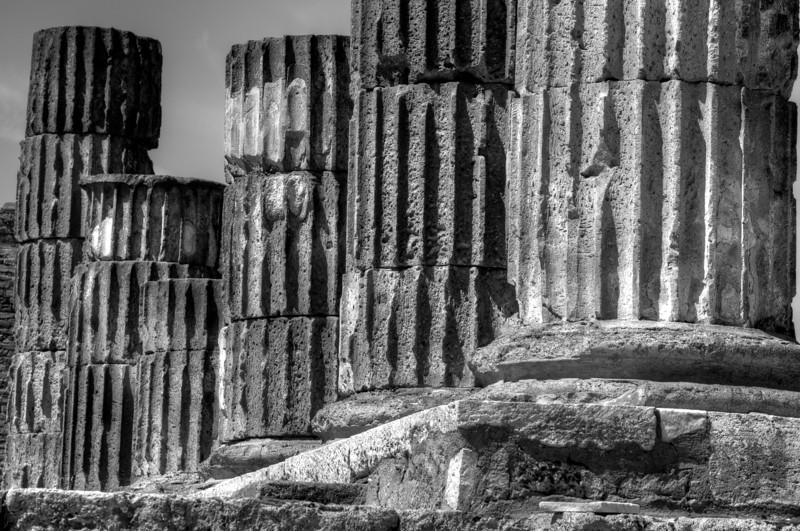 Ruins of pillars in Pompeii in B&W - Italy