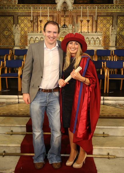 Pictured is Elaine Alyward, Kilkenny, who was conferred a Doctor of Philosophy, also pictured is Jonathan Johnston. Picture: Patrick Browne.