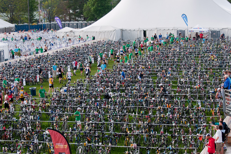 IronmanLP-16 - The swim-bike transition area in the Olympic Oval.  By the time I got there, Justin was long gone!