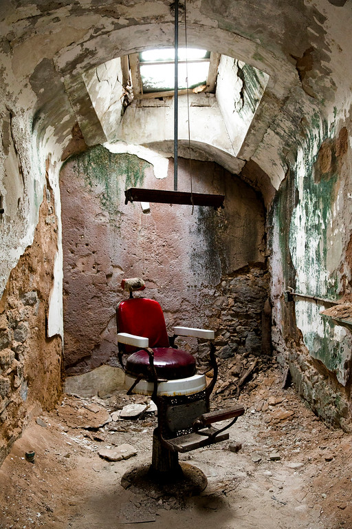 . This Oct. 13, 2014, photo shows a barber shop in cellblock 10 at Eastern State Penitentiary in Philadelphia. The penitentiary took in its first inmate in 1829, closed in 1971 and reopened as a museum in 1994.  (AP Photo/Matt Rourke)