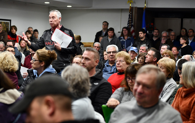 1/9/2020 Mike Orazzi   Staff Residents pack an information meeting held at the Manross Library about a proposed gated high-end multi-family residential project proposed for the Redstone Hill Road area in the city of Bristol.