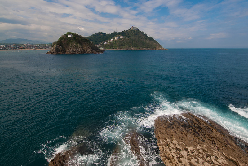 View of Urgull from across the ocean in San Sebastian, Spain