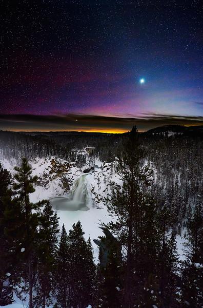 Venus Over Yellowstone River Upper Falls:  Yellowstone NP - Winter 2020