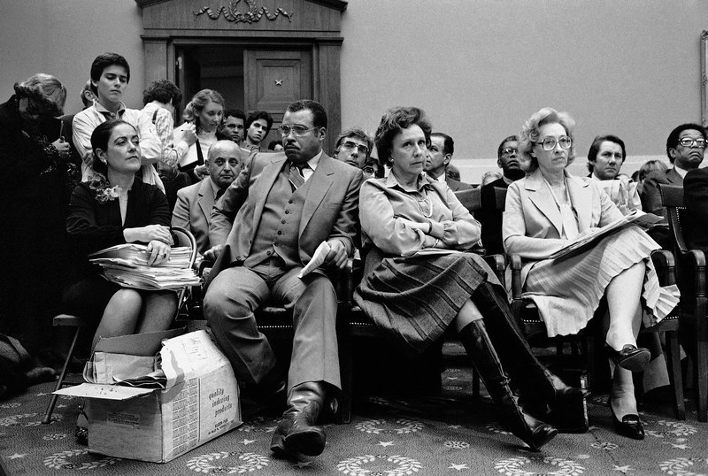 . Performing artists and supporters wait to testify before a House Appropriations subcommittee on Capitol Hill in Washington on Wednesday, March 25, 1981 to criticize President Ronald Reagan\'s planned cuts of arts and humanities programs. From left are Anne Murphy of the Council of the Arts, actors James Earl Jones and Jean Stapleton, and Tommie Carl of the American Association of Composers. (AP Photo)