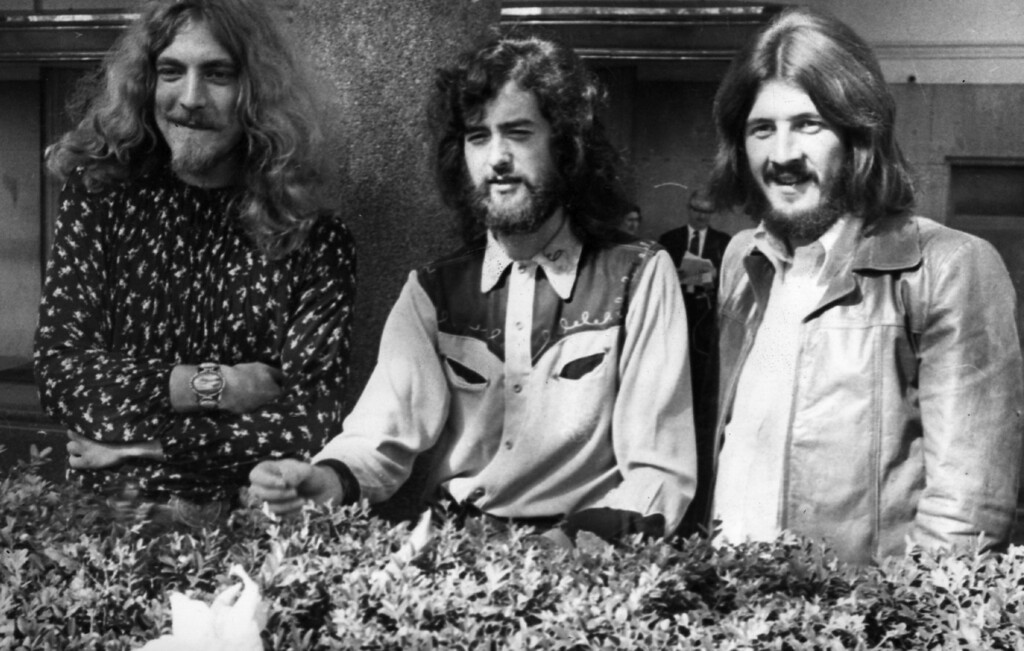. 16th September 1970:  Three of the four members of British heavy rock group Led Zeppelin in Embankment Gardens, London. They pushed the Beatles down to number two, taking the Best British Group award at the Melody Maker Pop Polls today at the Savoy Hotel. They are, from left to right; singer Robert Plant, guitarist Jimmy Page and drummer John Bonham.  (Photo by Ian Showell/Keystone/Getty Images)