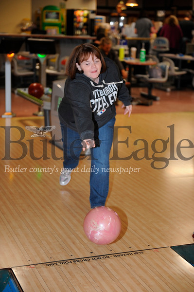 Amy Wonderling of Butler bowls at Family Bowlway Fun Center during the BC3 Bowling For Scholars fundraiser on Friday November 8, 2019 (Jason Swanson photo)