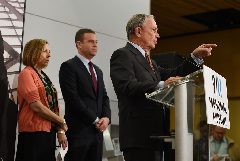 . National September 11 Memorial & Museum Chairman Michael Bloomberg (R), 9/11 Memorial Museum Director Alice Greenwald (L) and 9/11 Memorial President Joe Daniels (C) at a press conference before a press preview of the National September 11 Memorial Museum at the World Trade Center site May 14, 2014 in New York. AFP PHOTO/Stan HONDA/AFP/Getty Images