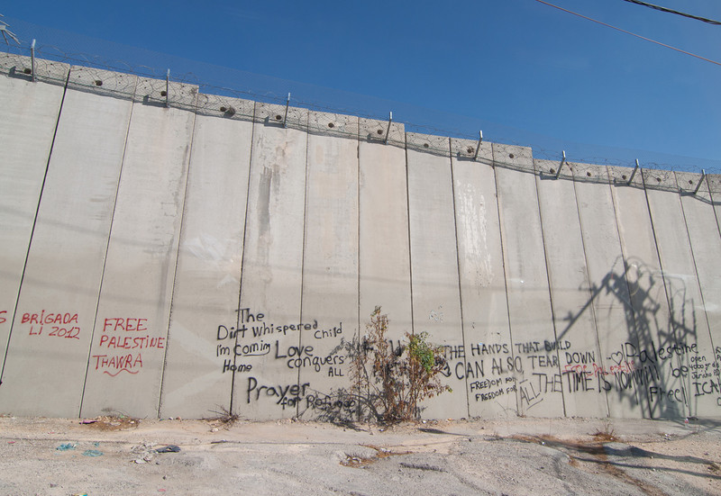 The wall in Jerusalem separating Israel from the West Bank.