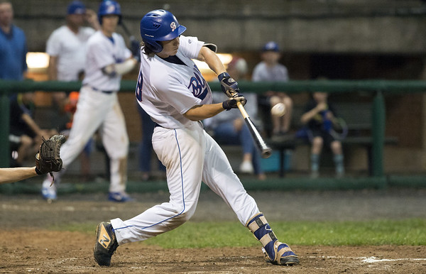 The Bristol Blues defeated the North Shore Navigators 7-0 on June 19, 2019 at Muzzy Field. Zeke Diamond (18).   Wesley Bunnell   Staff