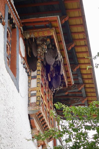 bee hives on windows at Punakha Dzong