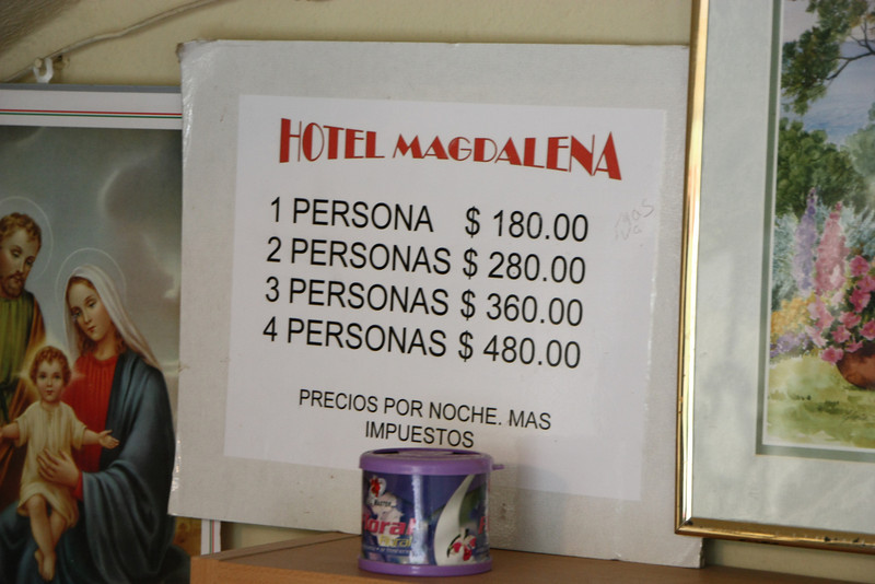At the current exchange ration of 13:1, 180 pesos is $13.84 per night.