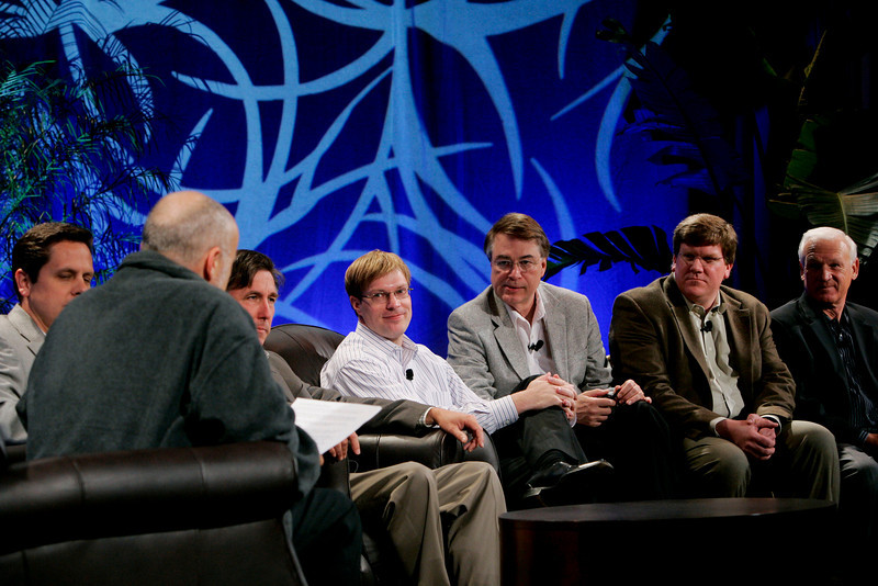 """CTO Design Challenge: """"And the Solution Is--"""": [F-B] David Brin, Brian Higbee, Kevin Walter, Kelly Millsaps, Larry Smarr, Ty Carlson, and Ron Roberts"""