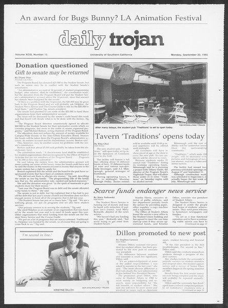 Daily Trojan, Vol. 100, No. 15, September 23, 1985