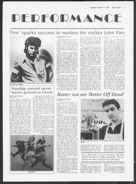 Daily Trojan, Vol. 100, No. 31, October 15, 1985
