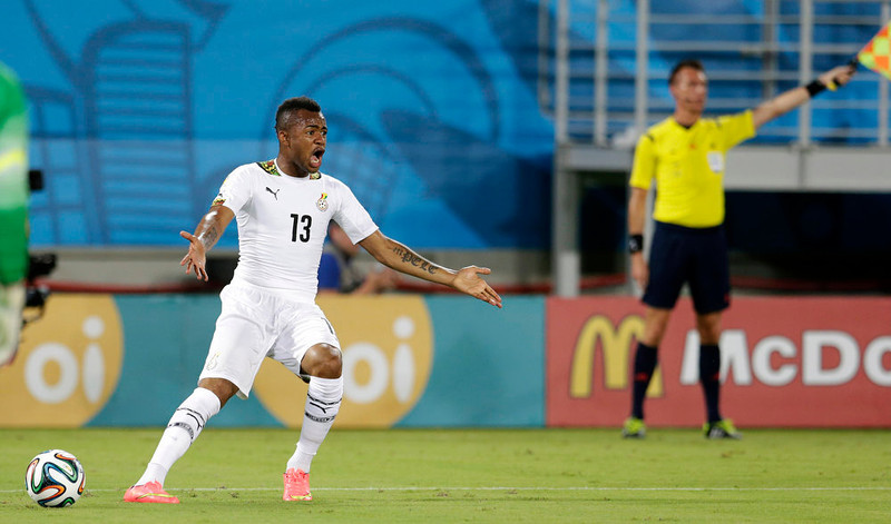 . Ghana\'s Jordan Ayew questions the referee\'s call during the group G World Cup soccer match between Ghana and the United States at the Arena das Dunas in Natal, Brazil, Monday, June 16, 2014.  (AP Photo/Petr David Josek)