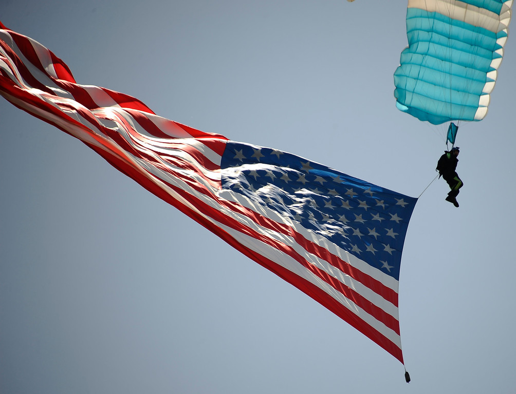 . Parachute team performs during the 20th anniversary of American Heroes Air Show Courage at the Speed of Flight at Hansen Dam. Lake View Terrace CA.  June 29,2013. Photo by Gene Blevins/LA Daily News