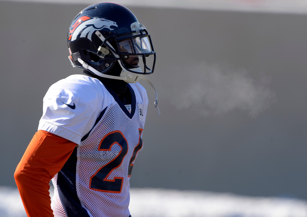 . Denver Broncos cornerback Champ Bailey (24) watches drills during practice January 23, 2014 at Dove Valley.   (Photo by John Leyba/The Denver Post)