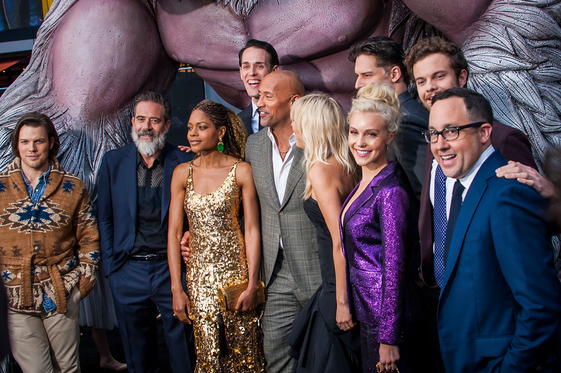 LOS ANGELES, CA - APRIL 04:  Jake Lacy, Jeffrey Dean Morgan, Naomie Harris, Jason Liles, Dwayne Johnson, Malin Akerman, Joe Manganiello, Breanne Hill, Jack Quaid and PJ Byrne arrive at the Premiere Of Warner Bros. Pictures' 'Rampage' at Microsoft Theater on Wednesday April 4, 2018 in Los Angeles, California. (Photo by Tom Sorensen/Moovieboy Pictures)