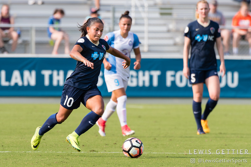 Debinha (10) during a match between the NC Courage and the Orlando Pride in Cary, NC in Week 3 of the 2017 NWSL season. Photo by Lewis Gettier.