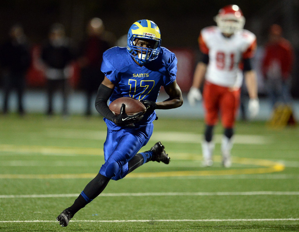 . San Dimas\' Chris Rufus runs for a first  down against Paraclete in the first half of a CIF-SS Mid-Valley Division championship football game at San Dimas High School in San Dimas, Calif., on Friday, Dec. 6, 2013.   (Keith Birmingham Pasadena Star-News)