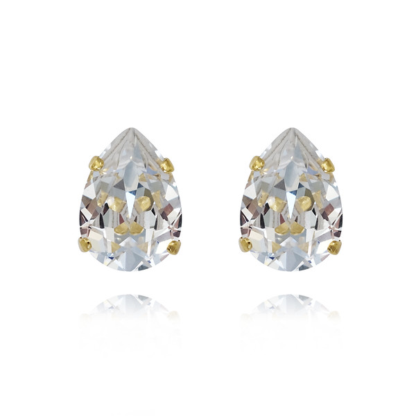 Mini Drop Stud Earrings / Crystal Gold