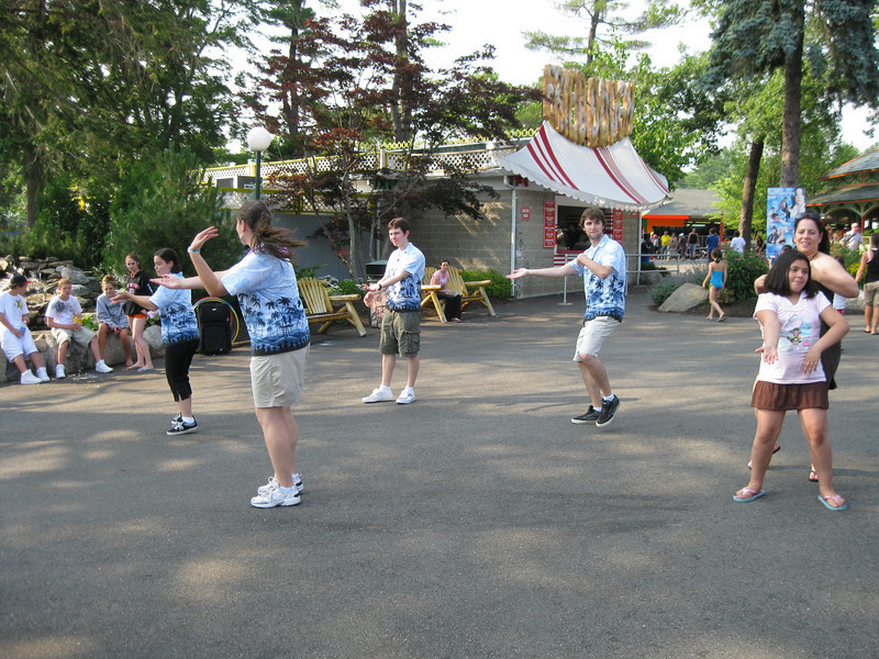 The Canobie Fun Squad was putting on a midway show. It's the Macarena, I think.