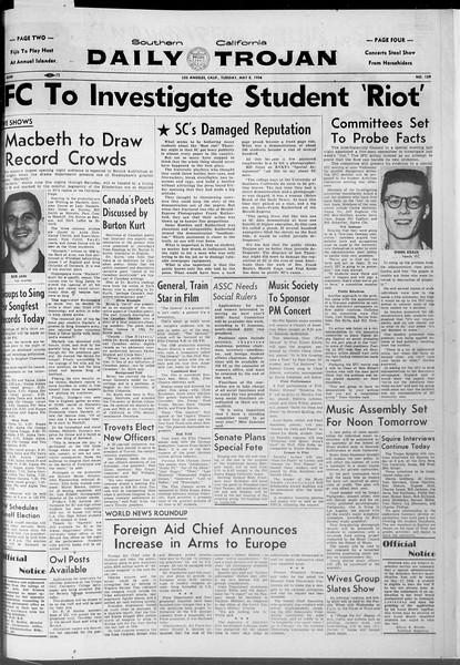 Daily Trojan, Vol. 47, No. 129, May 08, 1956