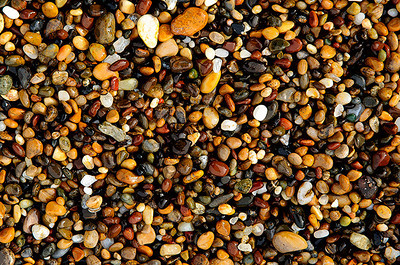 Colorful pebbles at a California beach.