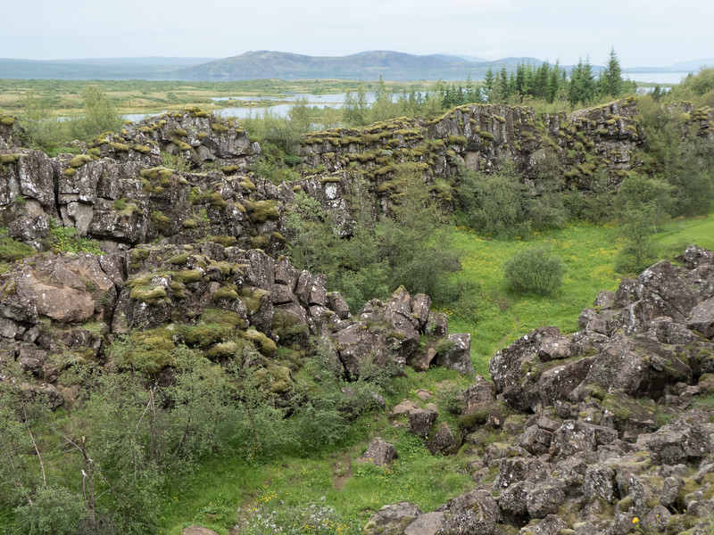 Thingvellir National Park sits on the Mid-Atlantic Rift, a valley between two continental tectonic plates, the North American and Eurasian.