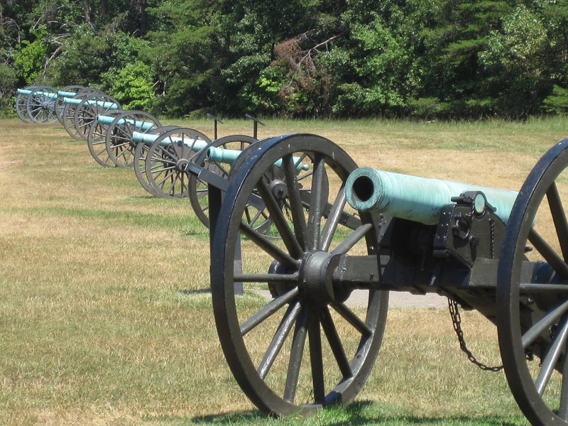 Line of cannons at Manassas National Battlefield Park