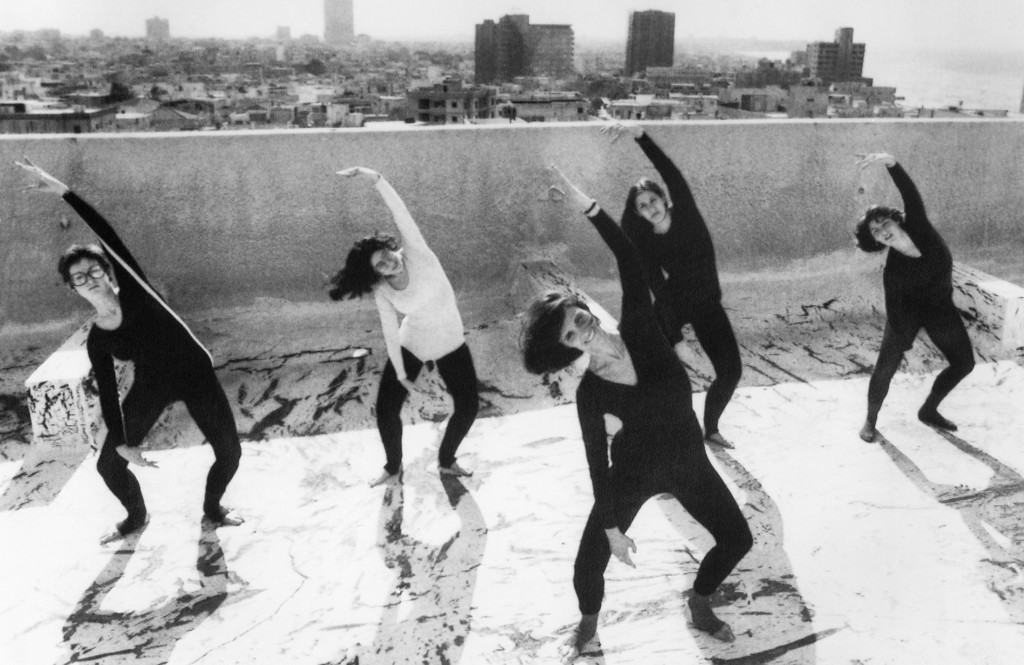 . Kitty Dukakis, foreground, wife of Massachusetts Gov. Michael Dukakis, leads a group of Lesley College, Cambridge, Mass., dance students during a practice session on the roof of their Tel Aviv hotel, Jan. 22, 1976. The students, touring Israel as guests of its government, include, from left: Kim Mandly of Manchester, Conn; Ann Levine of New Rochelle, N.Y.; Sherry Quaintancy, Wilton, Conn; and Marcy Stempler, Rockville, Md. (AP Photo)