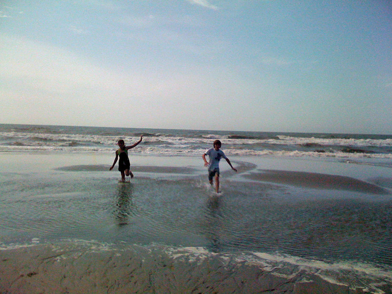 Playing in the tidal pools.