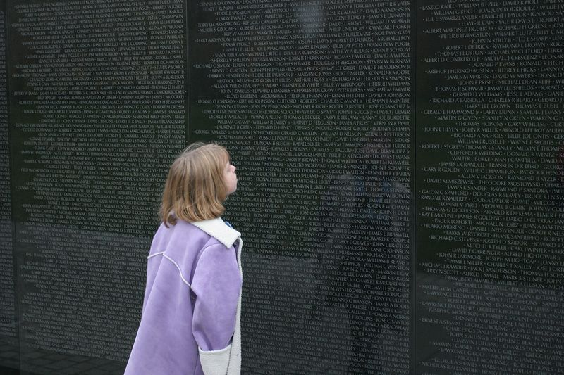 Kyra at the Vietnam Veteran's Memorial