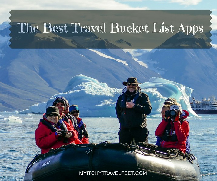 Expedition cruisers riding in a zodiac in the Arctic. The best travel bucket list apps to help you get there.